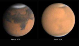 Mars dust clouds