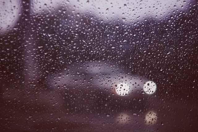 Dew on car window